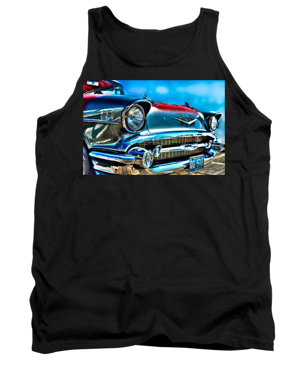 J. Zaring Tank Top featuring the photograph 1957 Chevy Grille by Joshua Zaring