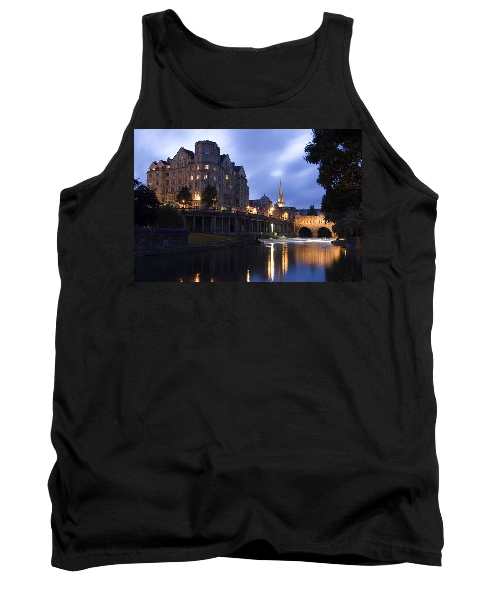 Bath Tank Top featuring the photograph Bath City Spa Viewed Over The River Avon At Night by Mal Bray