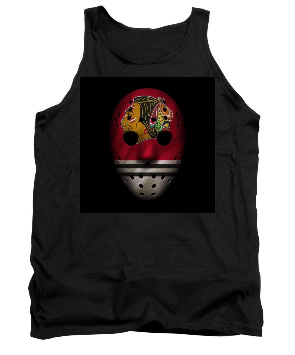 Blackhawks Tank Top featuring the photograph Blackhawks Jersey Mask by Joe Hamilton