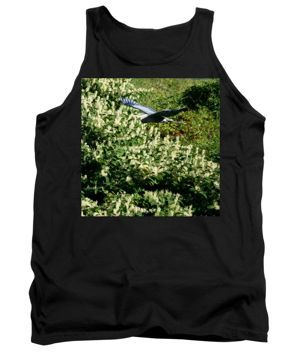 Flying Heron Tank Top featuring the photograph Blue Heron Flight by Neal Eslinger