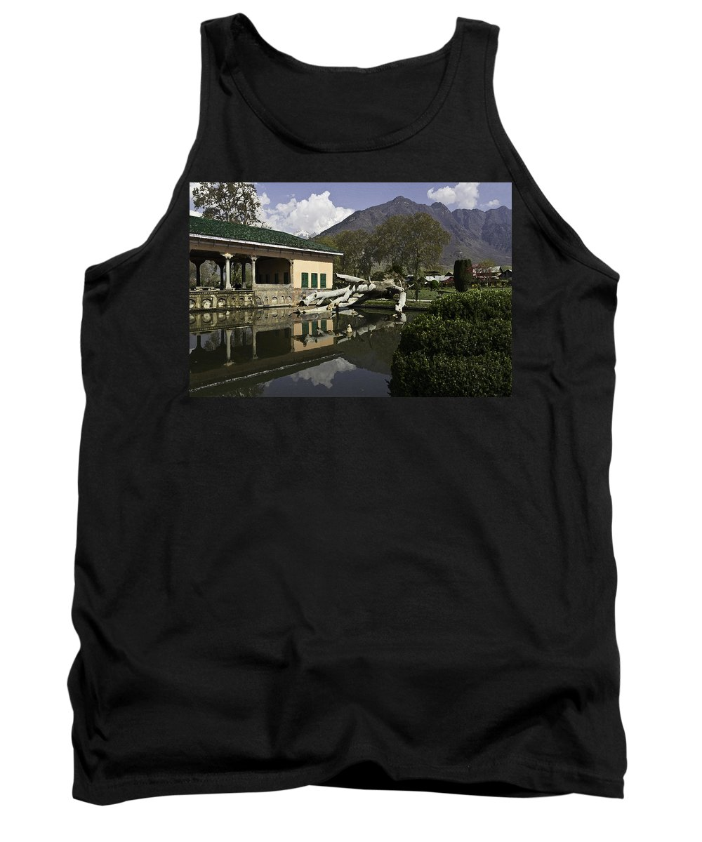Action Tank Top featuring the digital art Fallen Tree In Water Pool Inside The Shalimar Garden In Srinagar by Ashish Agarwal