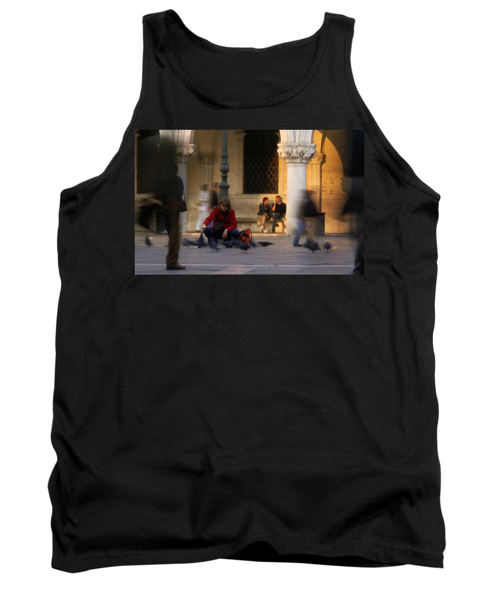 Venice Tank Top featuring the photograph Feed The Birds by Ron Harpham