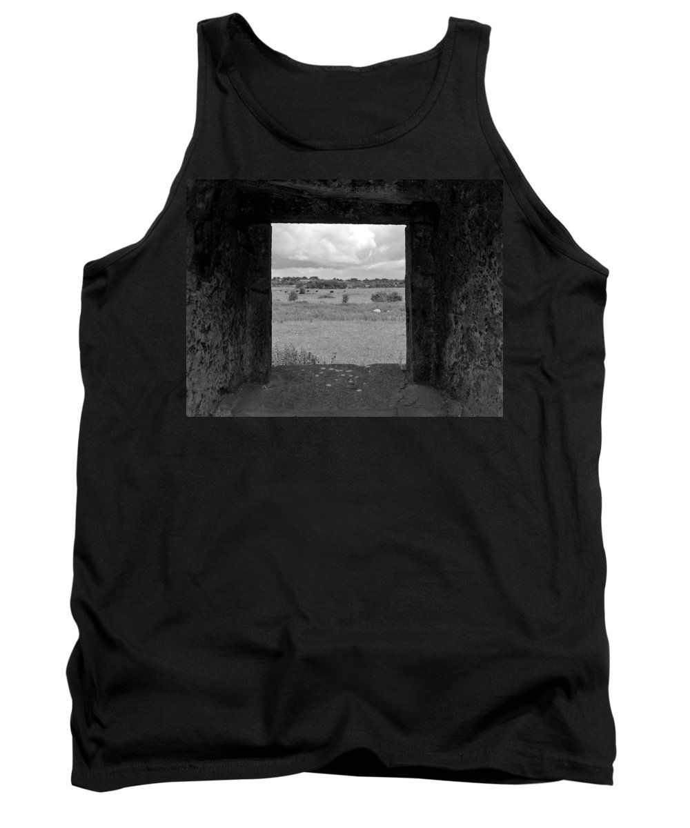 Black And White Tank Top featuring the photograph Framed Irish Landscape by Denise Mazzocco