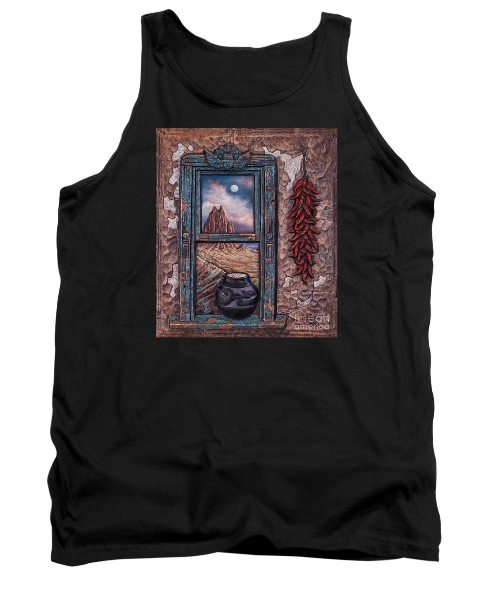 New-mexico Tank Top featuring the mixed media New Mexico Window by Ricardo Chavez-Mendez