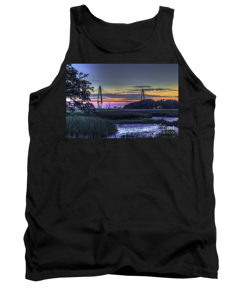Cooper River Bridge Tank Top featuring the photograph Charleston Bridge Low Tide by Dale Powell