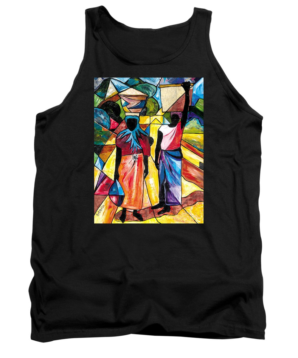 Everett Spruill Tank Top featuring the painting Road to the Market by Everett Spruill