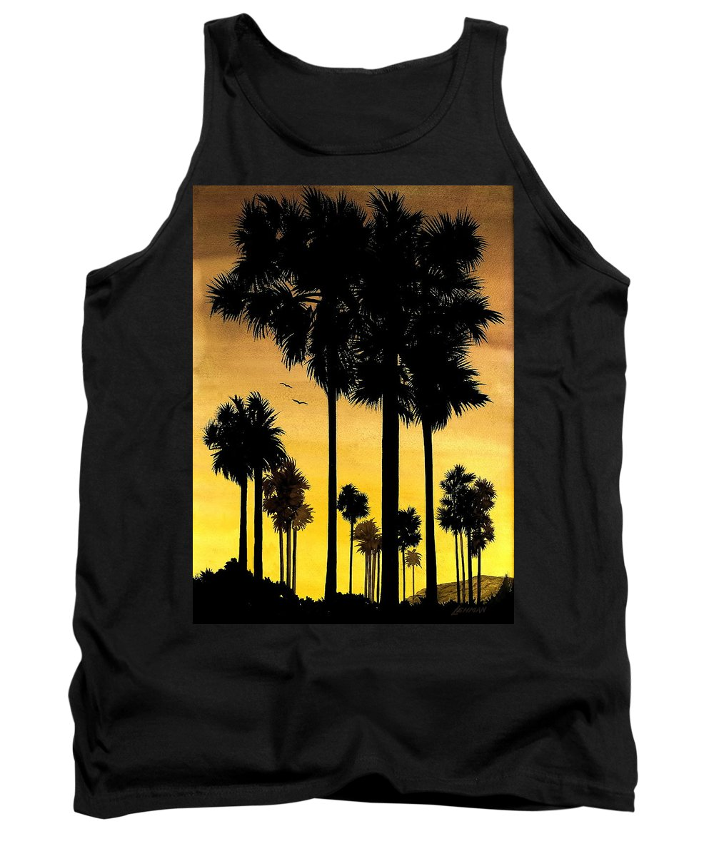 San Diego Sunset Tank Top featuring the painting San Diego Sunset by Larry Lehman