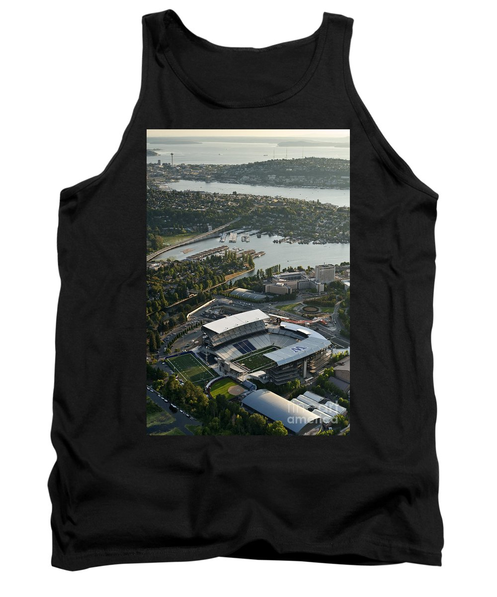 Elliott Bay Tank Top featuring the photograph Seattle Skyline With Aerial View Of The Newly Renovated Husky St by Jim Corwin