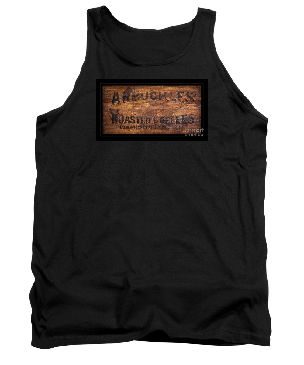 Coffee Tank Top featuring the photograph Vintage Arbuckles Roasted Coffee Sign by John Stephens