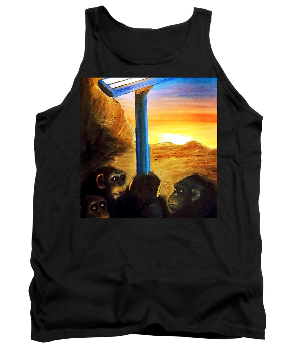 Chimpanzee Tank Top featuring the painting 2014 An Ape Oddessy by Scott French