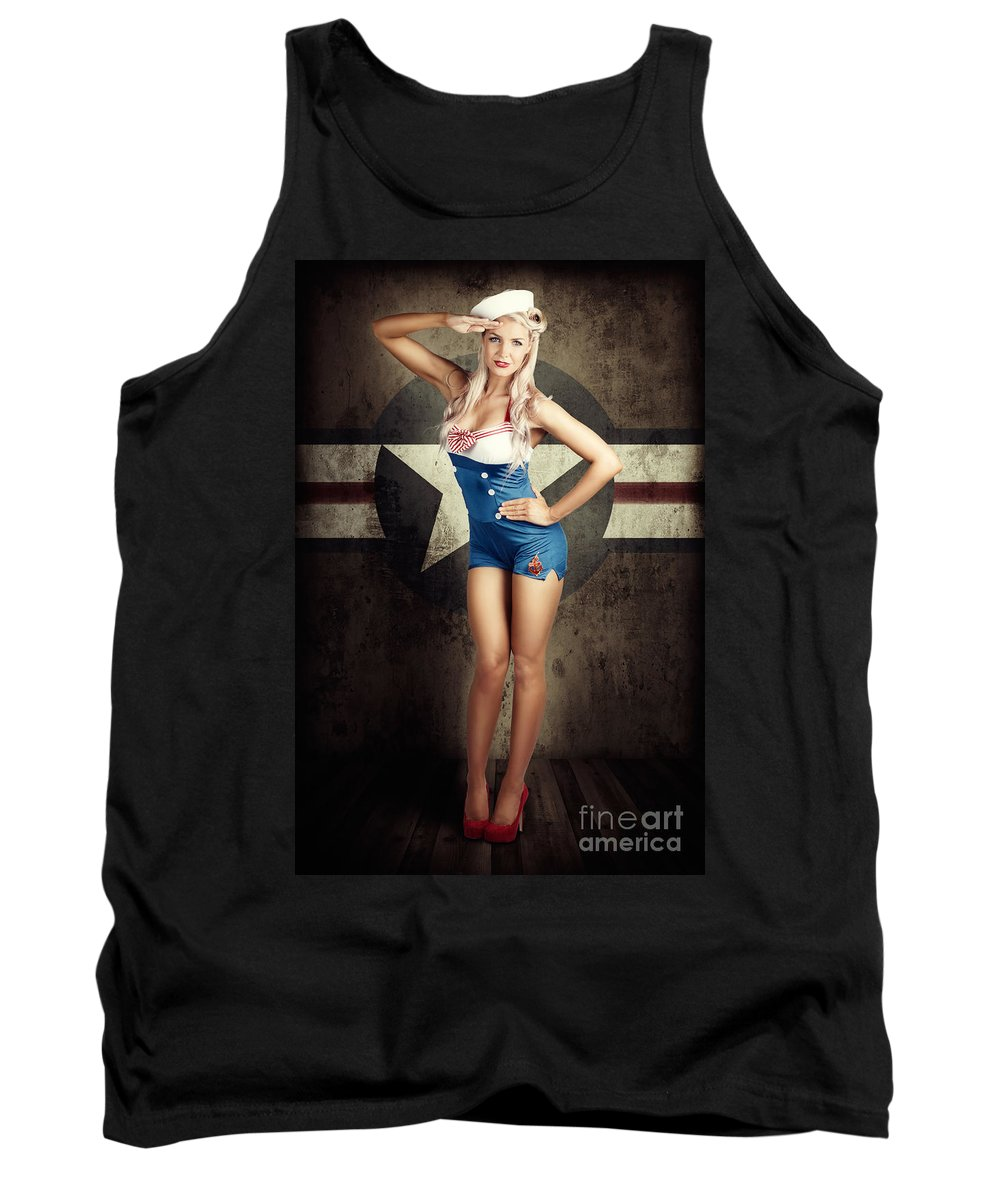 50s Tank Top featuring the photograph American Fashion Model In Military Pin-up Style by Jorgo Photography - Wall Art Gallery