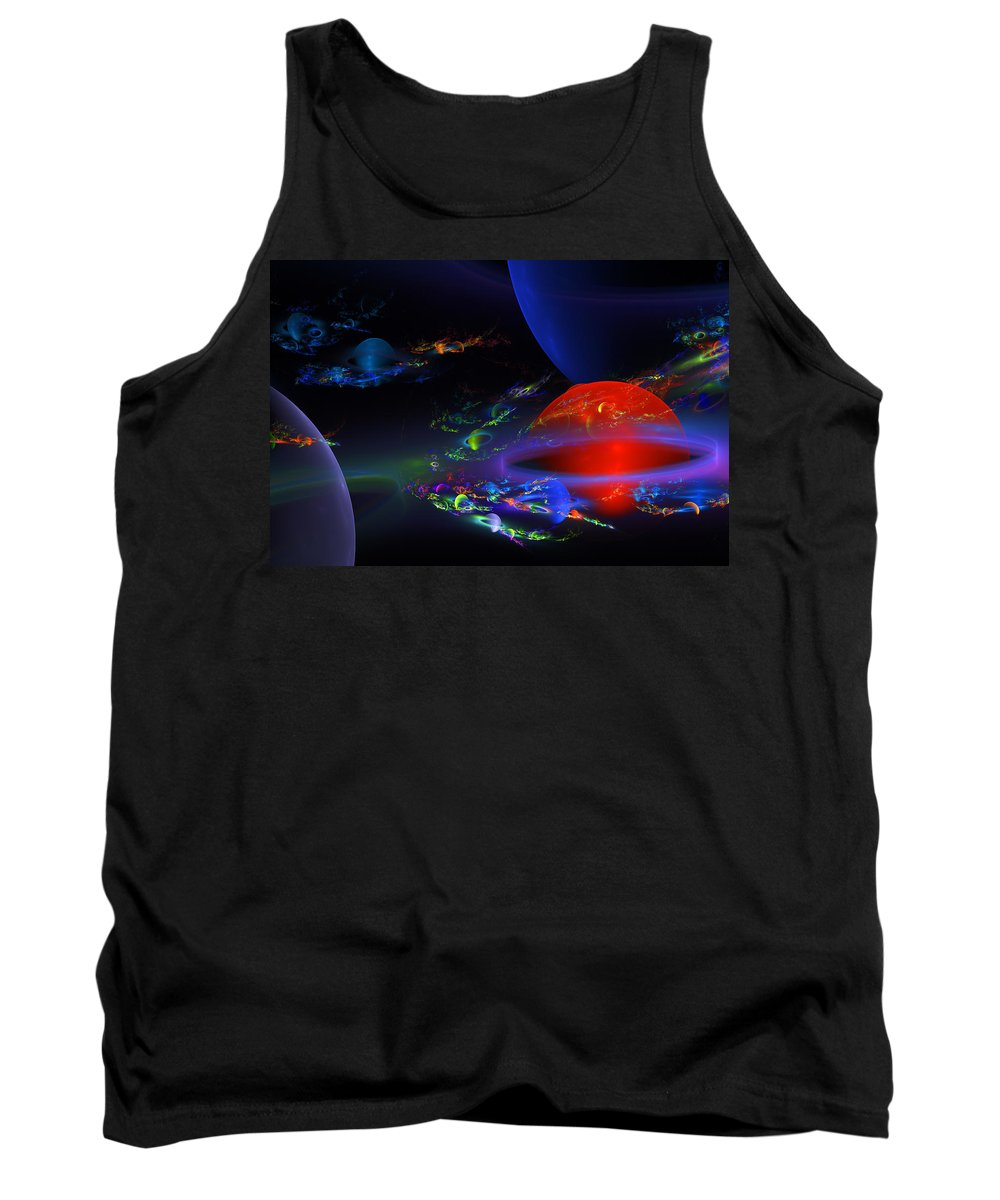 Blue Tank Top featuring the photograph Computer Generated Sphere Abstract Fractal Flame Modern Art by Keith Webber Jr
