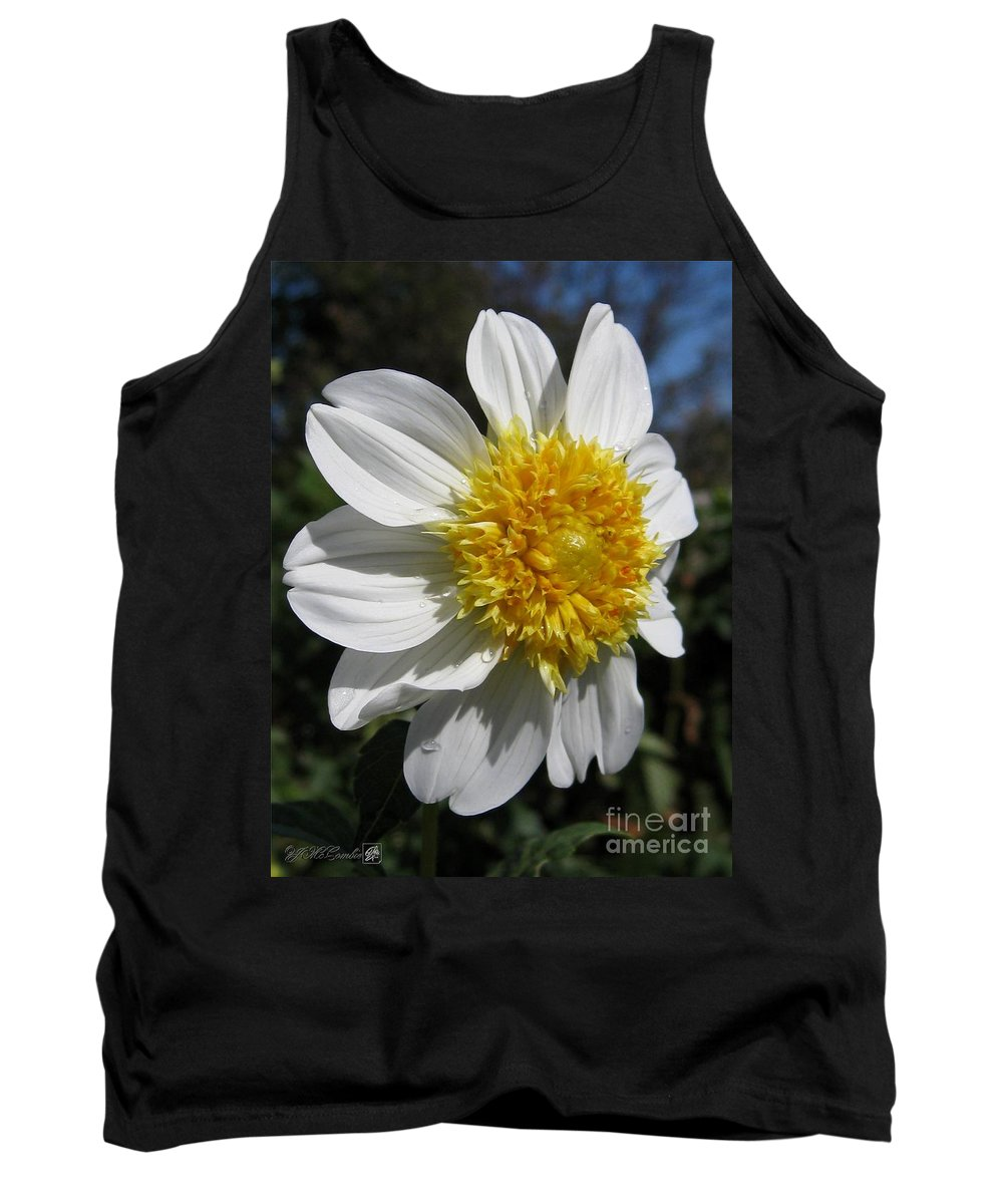 Mccombie Tank Top featuring the photograph Dahlia Named Platinum Blonde by J McCombie