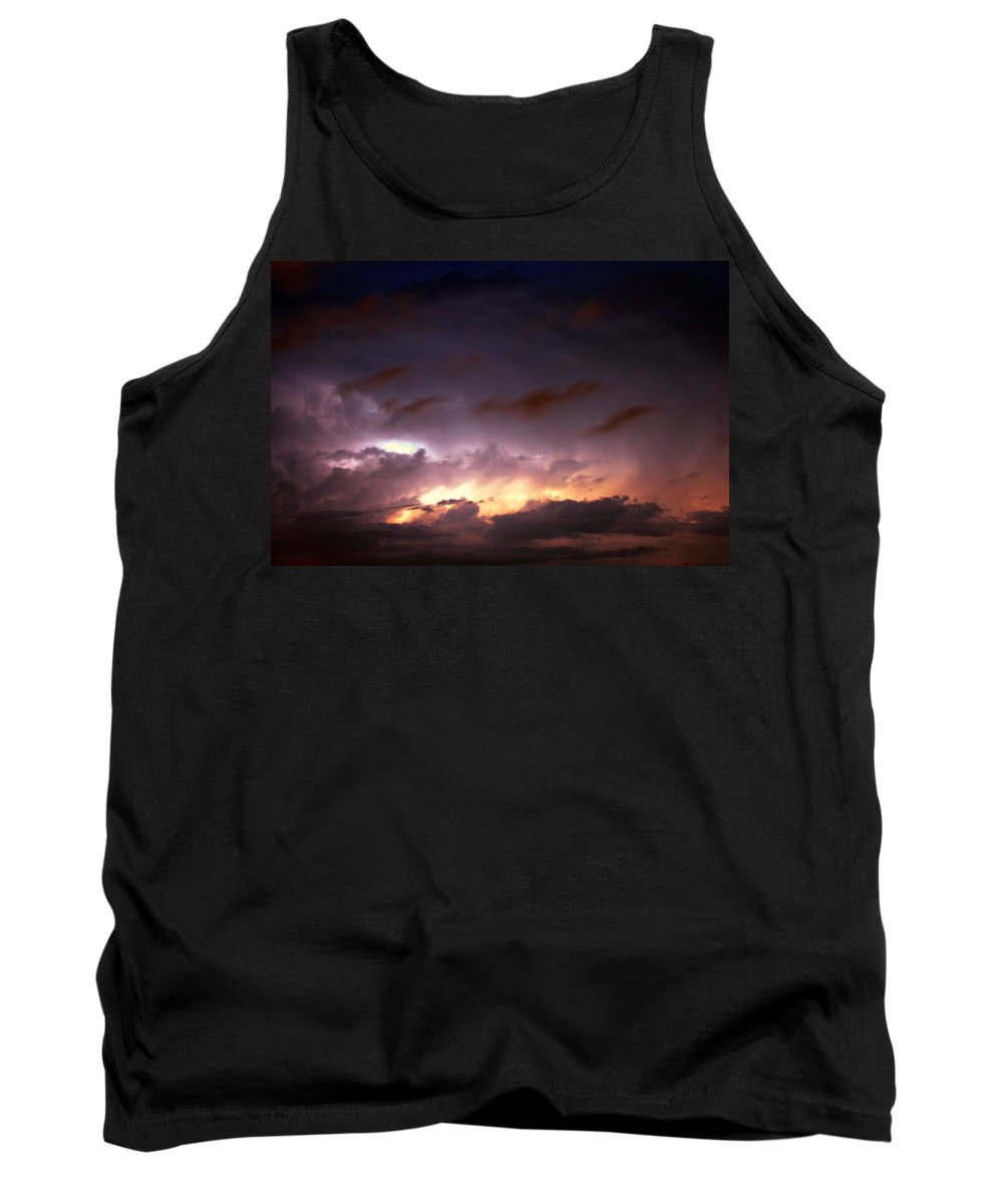 Stormscape Tank Top featuring the photograph Dying Storm Cells With Fantastic Lightning by NebraskaSC