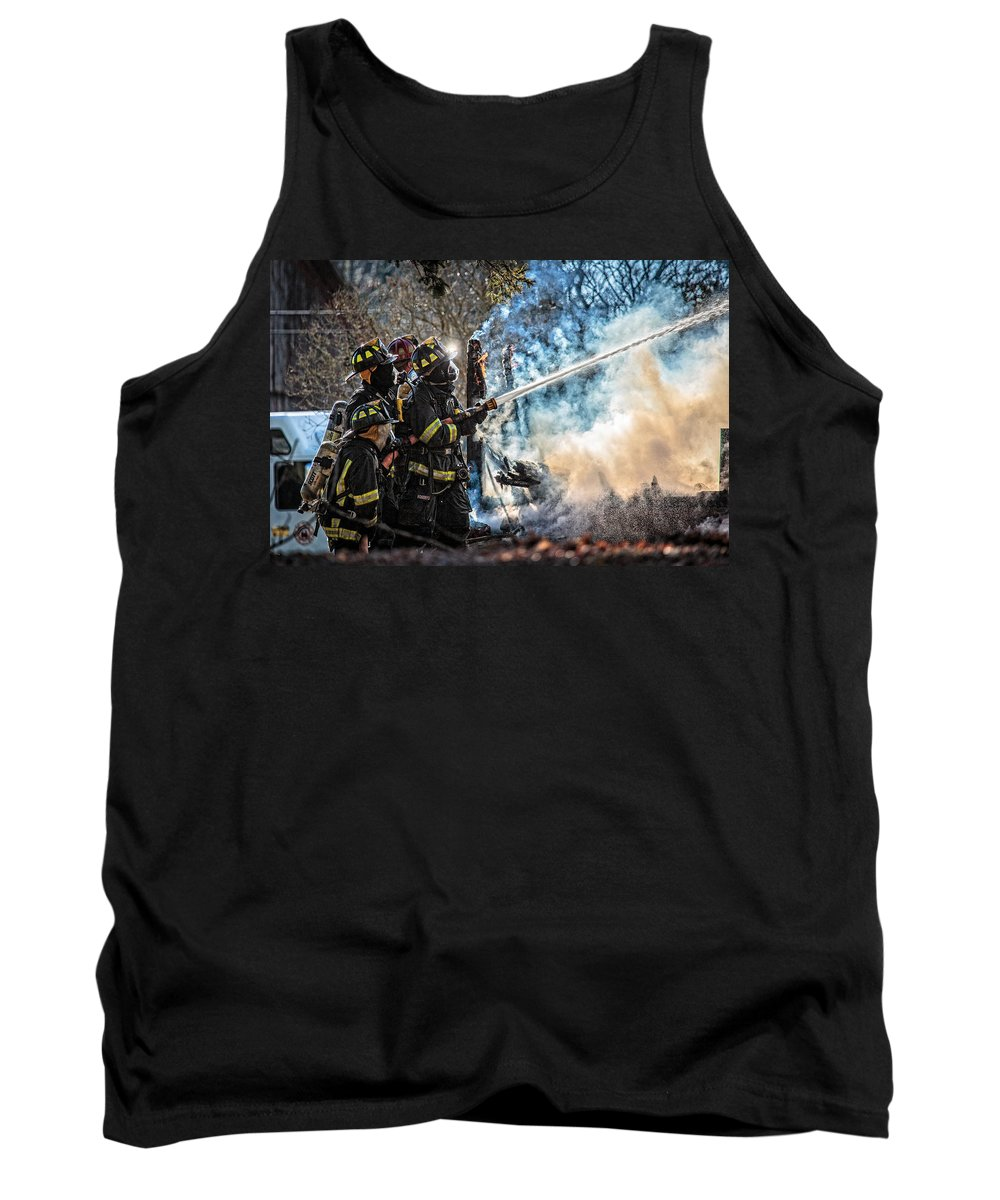 Fire Tank Top featuring the photograph Firefighters by Everet Regal