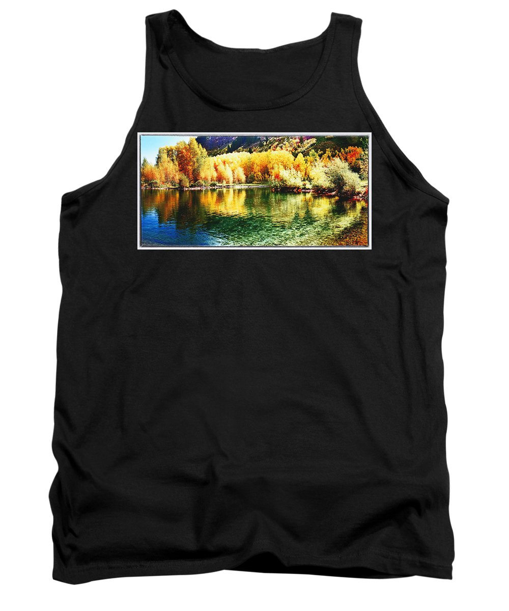 Mountain Tank Top featuring the photograph Lake Reflection In Fall by OLena Art Lena Owens