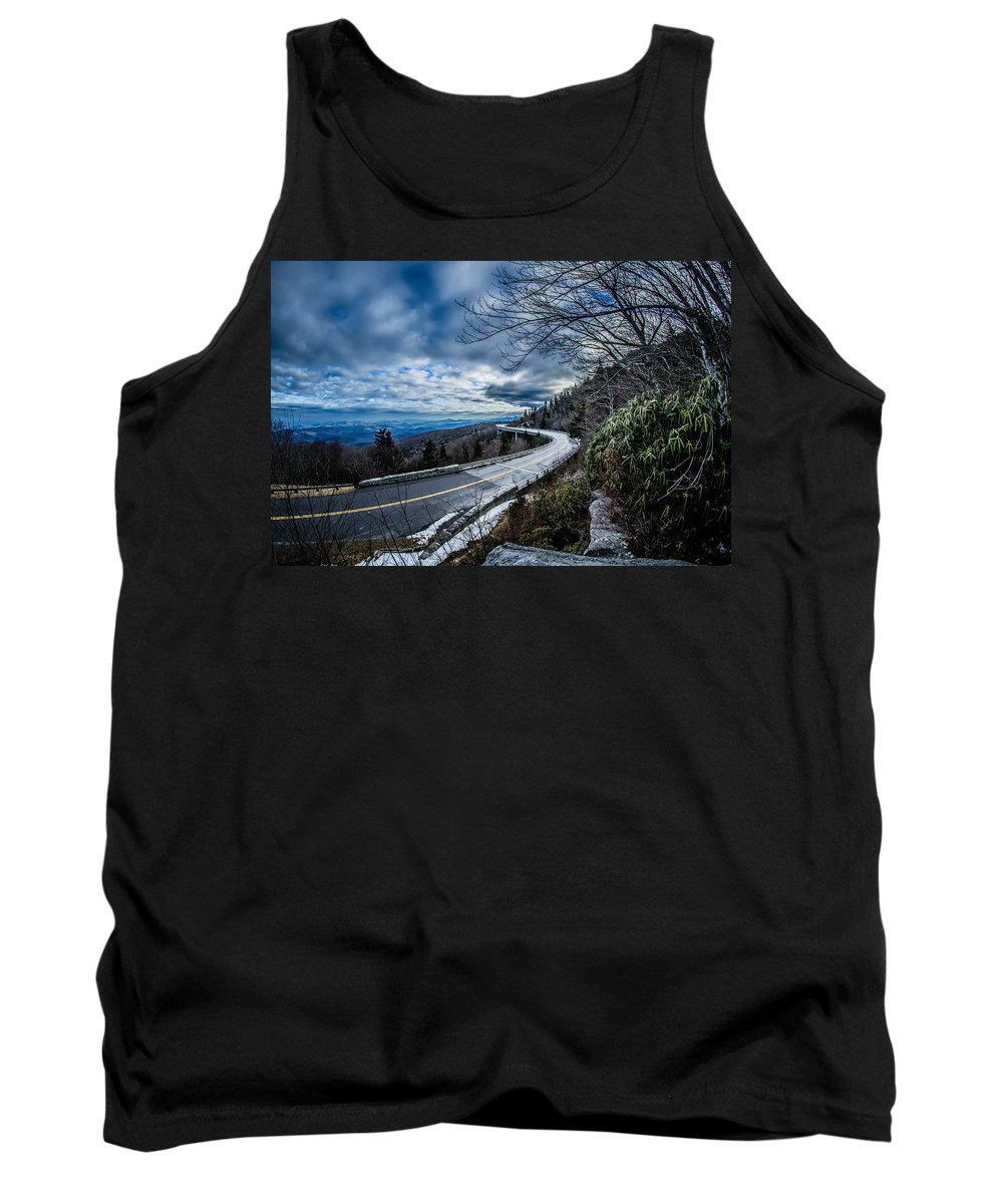 Road Tank Top featuring the photograph Linn Cove Viaduct During Winter Near Blowing Rock Nc by Alex Grichenko