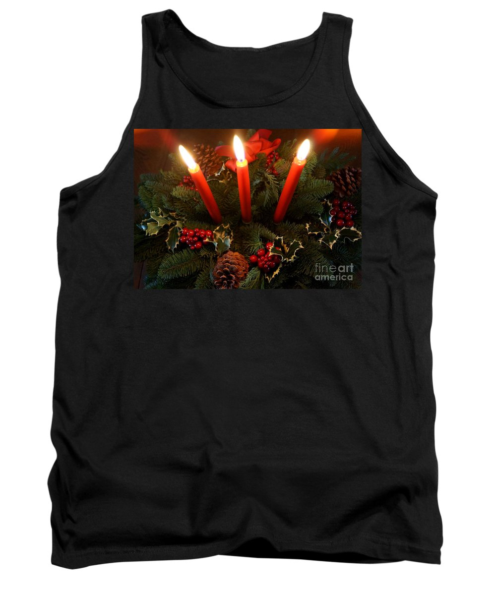 Centerpiece Tank Top featuring the photograph 3 Red Candles by Kerri Mortenson