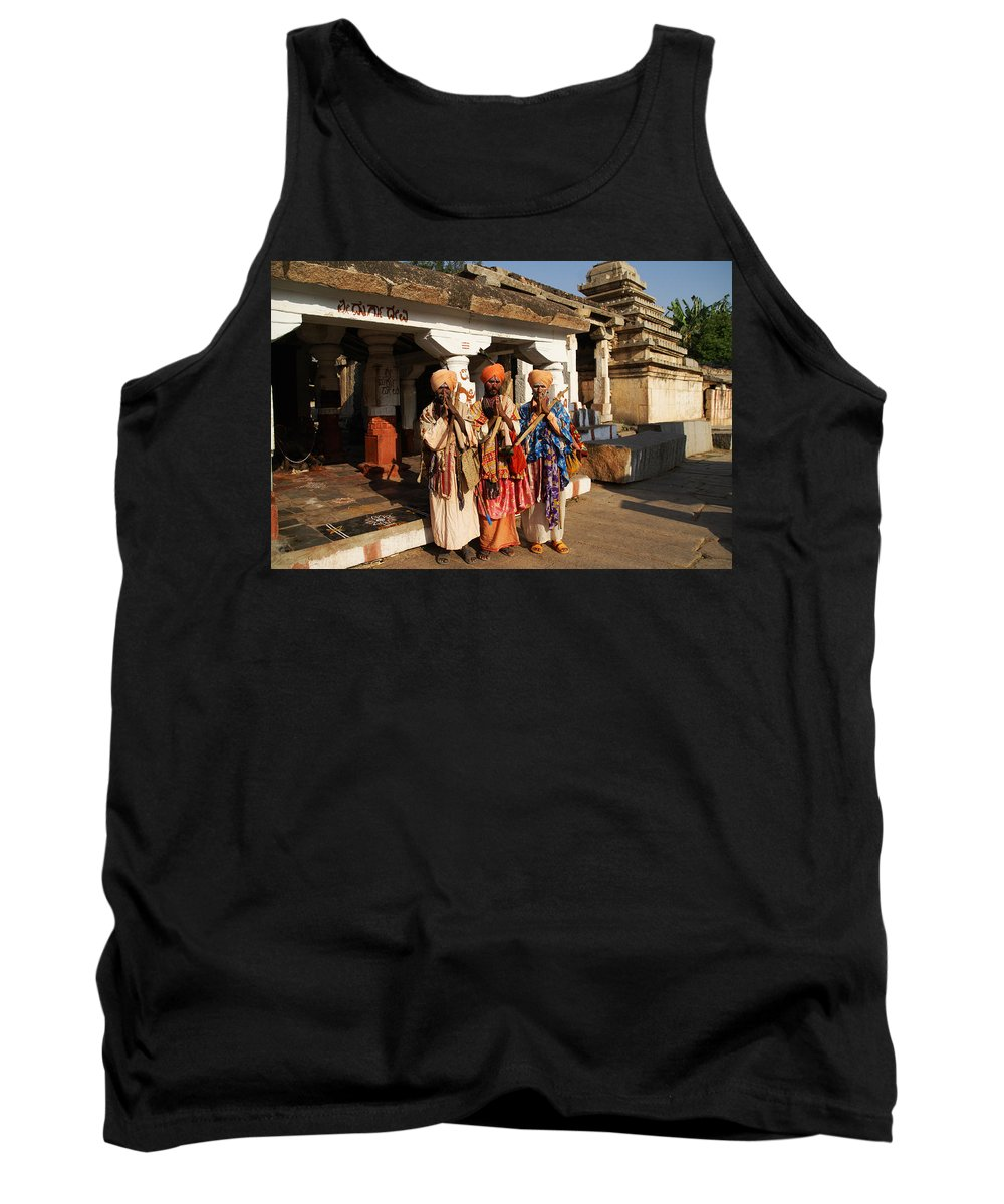 Hampi Tank Top featuring the digital art Sadus Holy Men Of India by Carol Ailles
