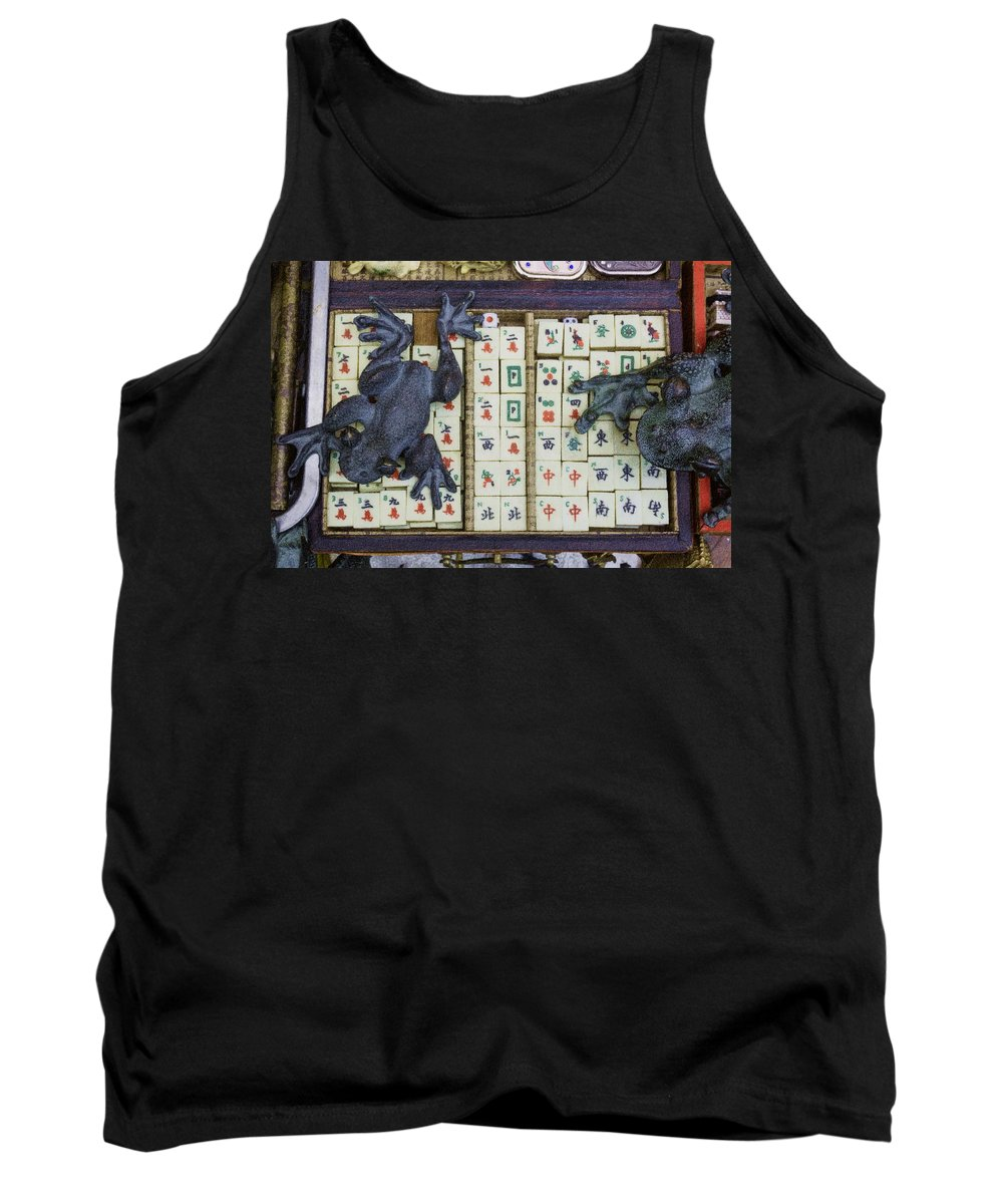 Mahjong Tiles Tank Top featuring the digital art 3446-colored Photo 1 by David Lange