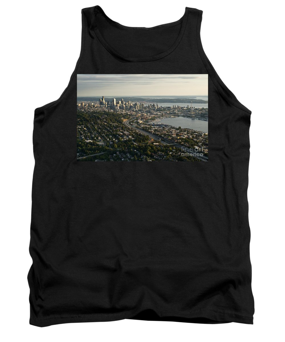 Capitol Hill Tank Top featuring the photograph Aerial View Of Seattle by Jim Corwin