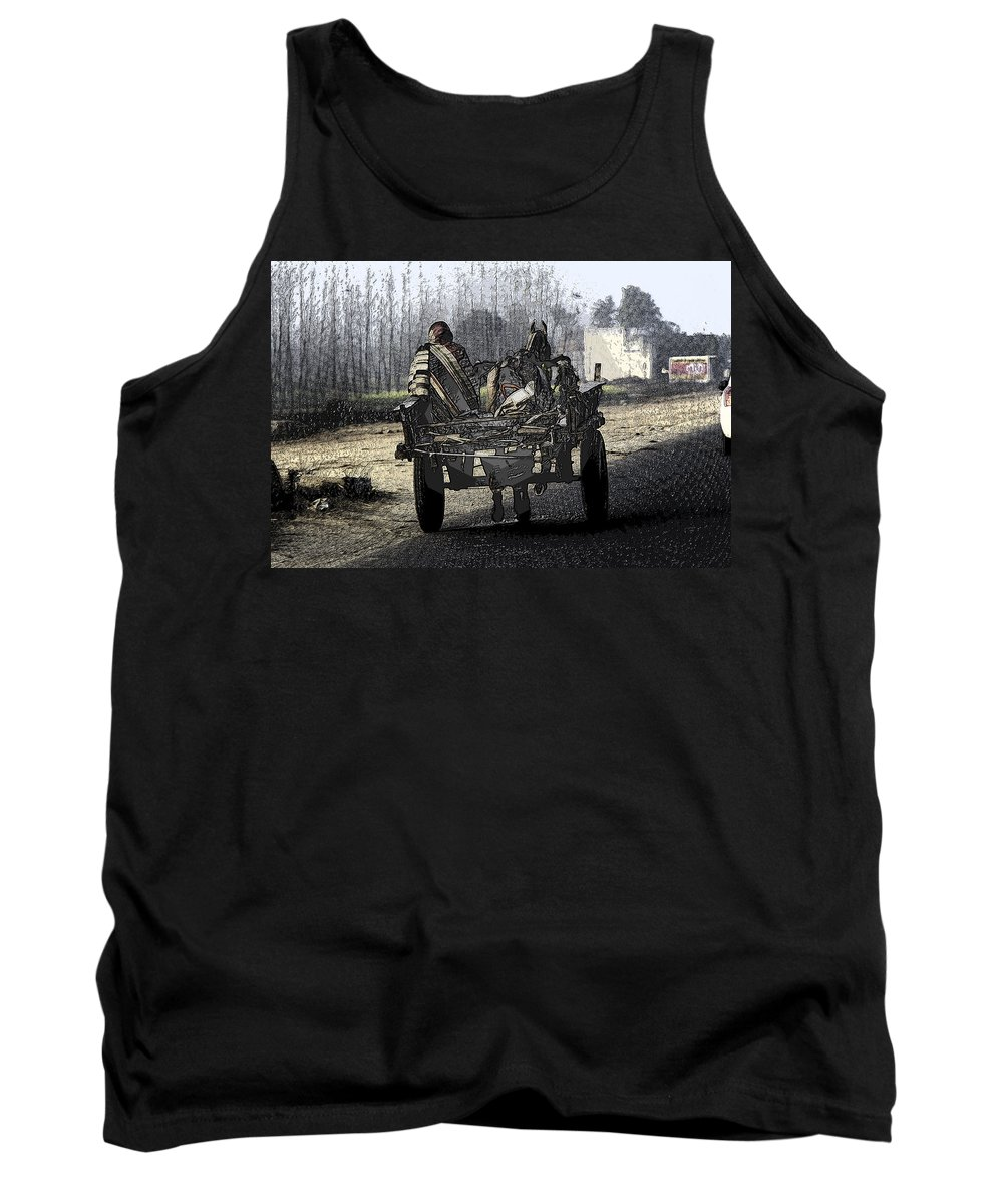 Canon 650d Tank Top featuring the digital art Bundled Up For The Cold In A Foggy Day In Rural India by Ashish Agarwal