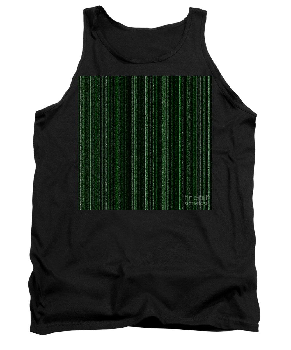 Green Tank Top featuring the digital art Matrix Green by Henrik Lehnerer