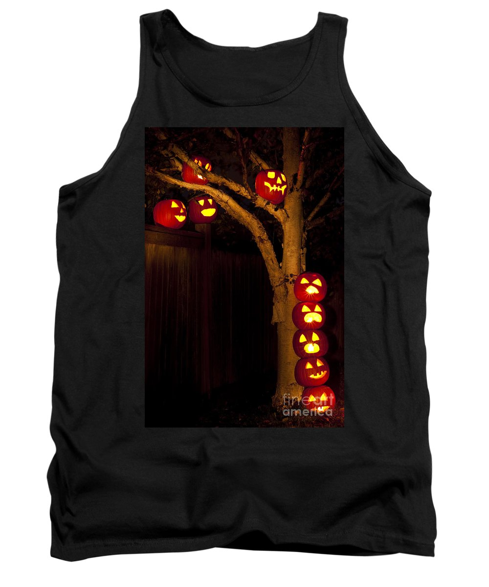 31st Tank Top featuring the photograph Pumpkin Escape Over Fence by Jim Corwin