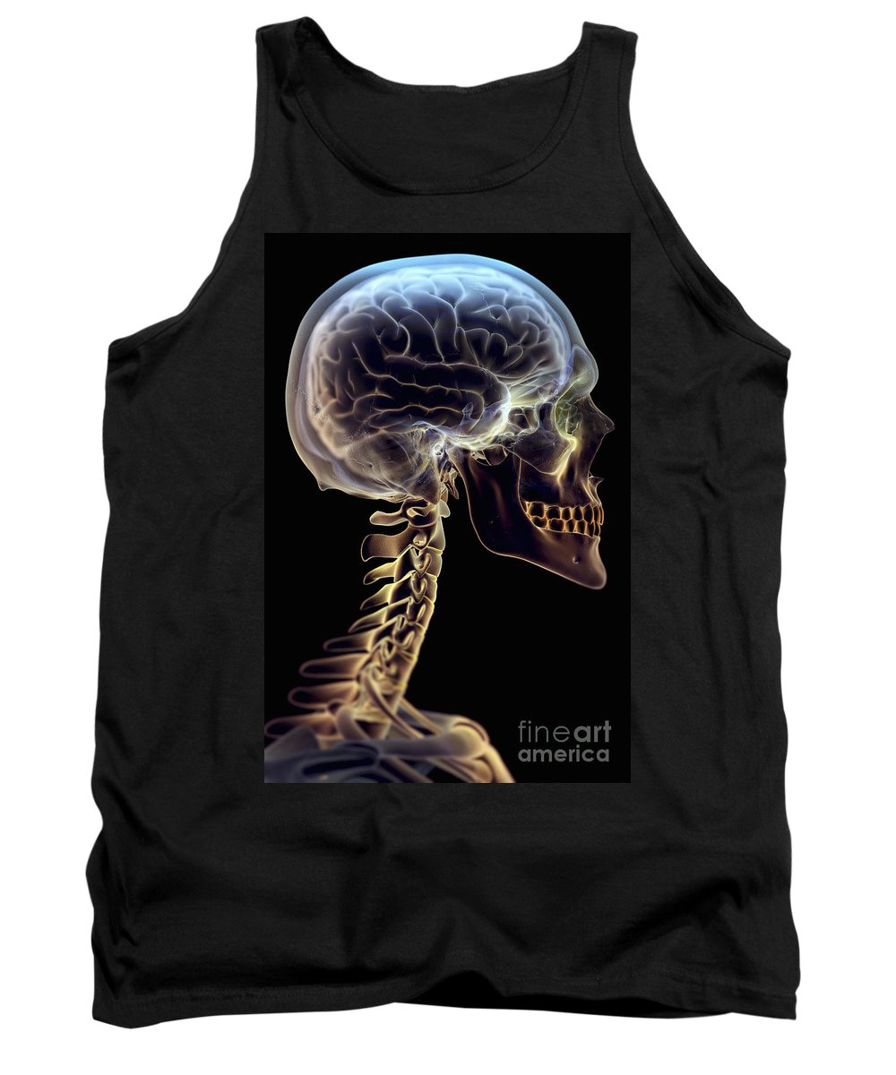 3d Visualisation Tank Top featuring the photograph Human Brain by Science Picture Co