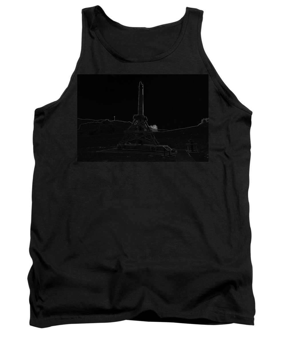 Castle Tank Top featuring the digital art Replica Of Wooden Trebuchet And The Ruins Of The Urquhart Castle by Ashish Agarwal