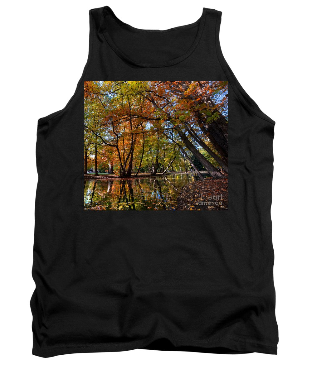 Fall Tank Top featuring the photograph Alley With Falling Leaves In Fall Park by Michal Bednarek