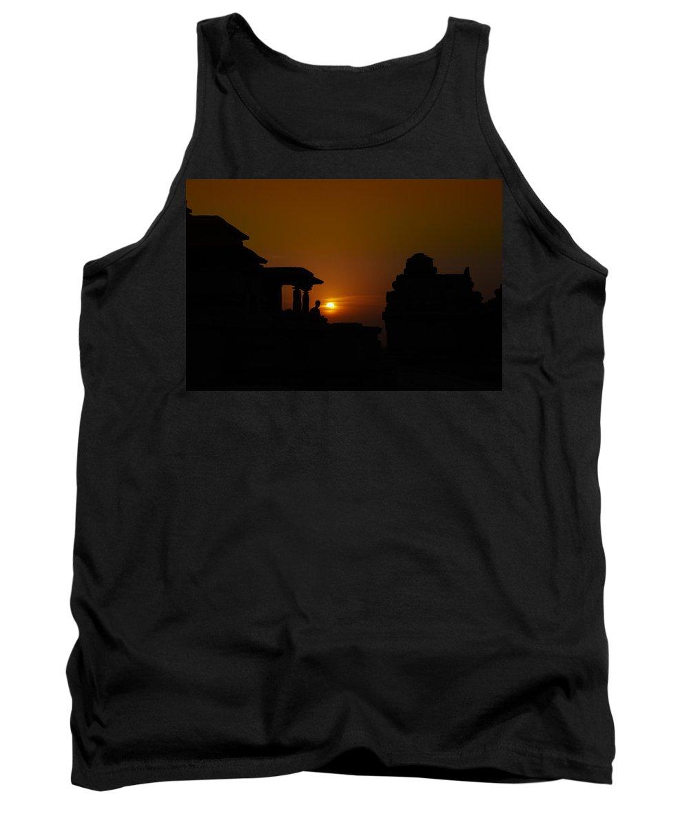 Hampi Tank Top featuring the digital art Hampi Sunset by Carol Ailles