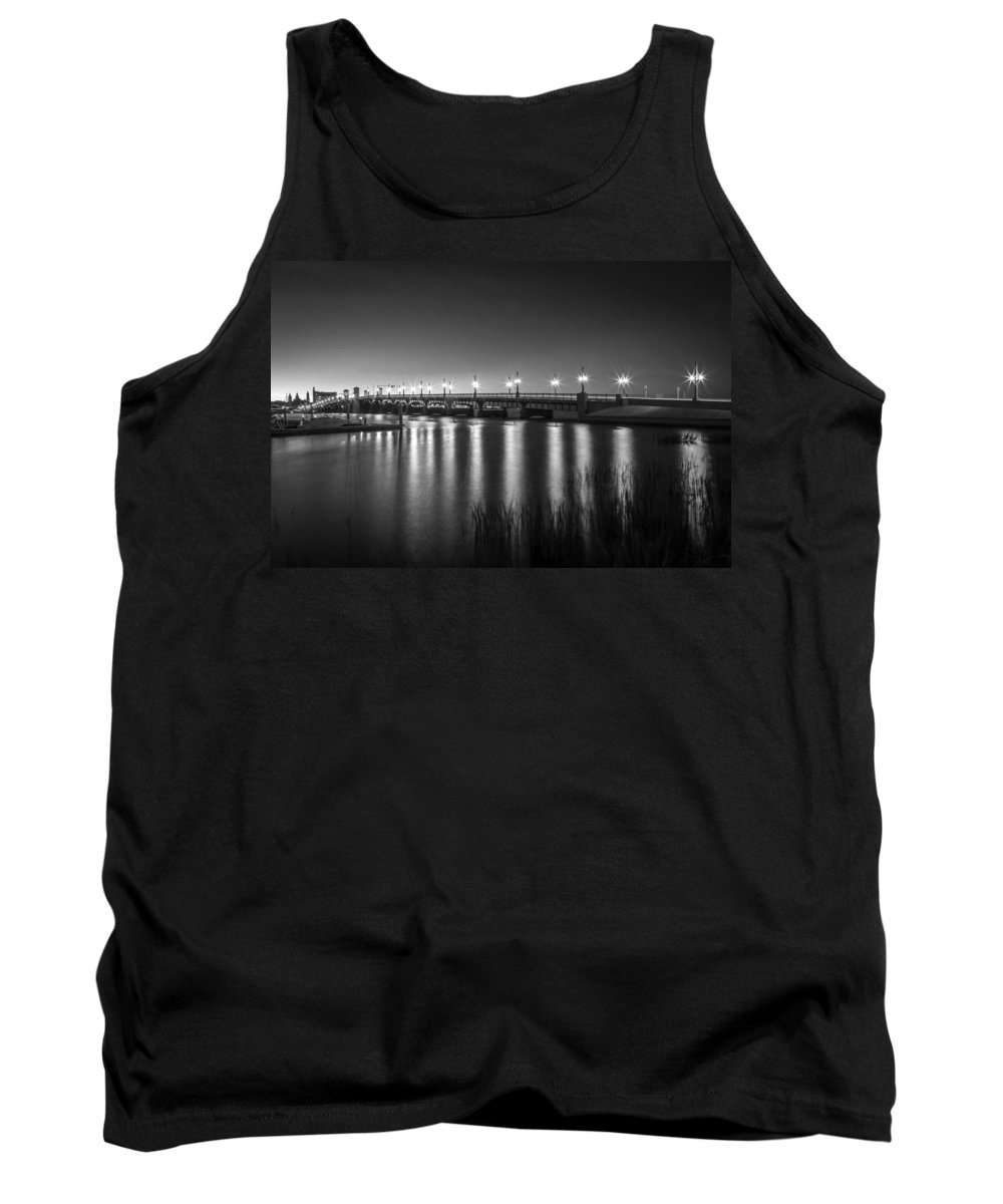 Bridge Of Lions Tank Top featuring the photograph Bridge Of Lions St Augustine Florida Painted Bw by Rich Franco