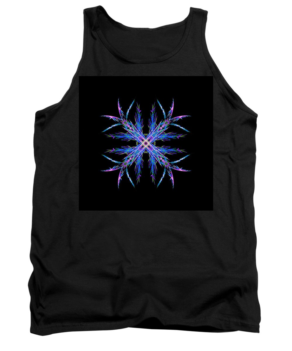 Quadra Flake Tank Top featuring the painting Colorful Crystalline Snowflake by Bruce Nutting