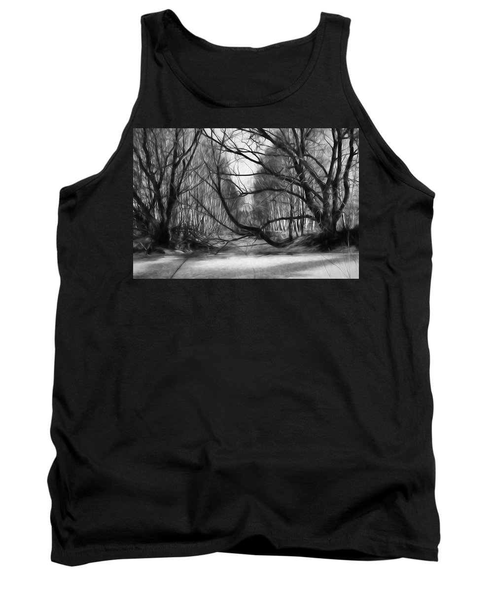 Black And White Tank Top featuring the photograph 9 Black And White Artistic Painterly Icy Entrance Blocked By Braches by Leif Sohlman