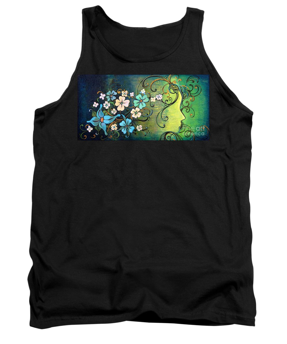 Beautiful Tank Top featuring the painting A Beautiful Mind by Shadia Derbyshire