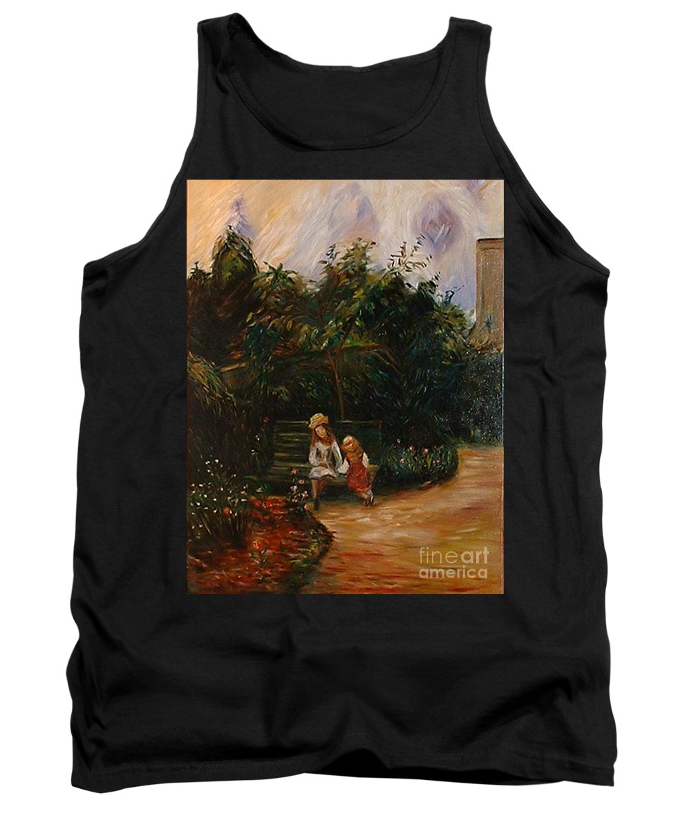 Classic Art Tank Top featuring the painting A Corner Of The Garden At The Hermitage by Silvana Abel