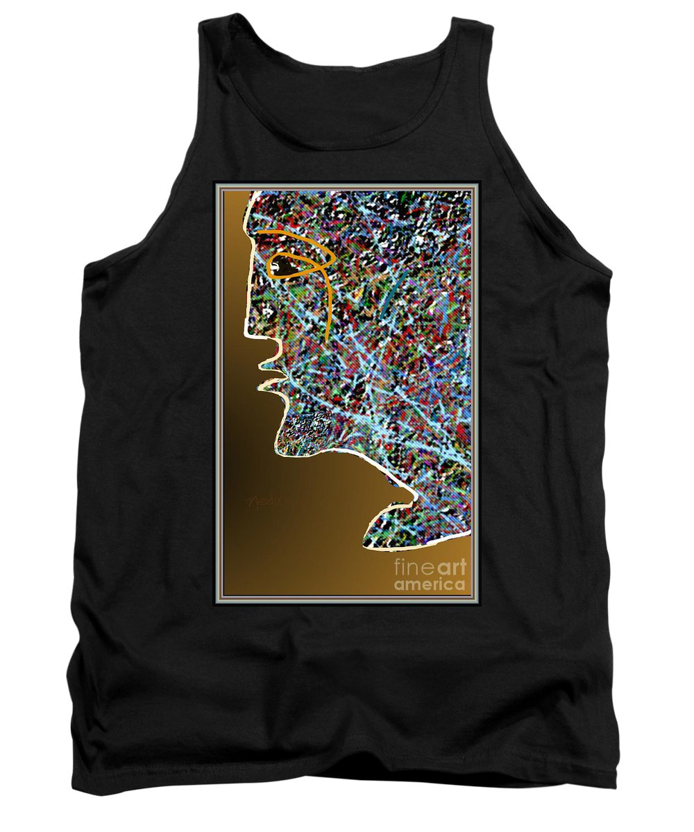 Fine Art Tank Top featuring the painting A Face Stylised by Nedunseralathan R