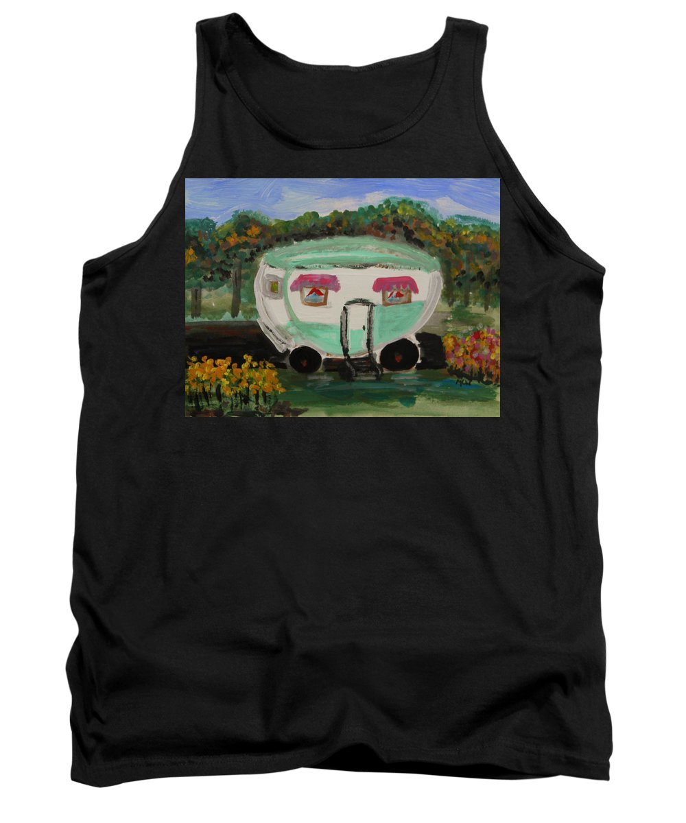 Trailer Tank Top featuring the painting A Good Spot by Mary Carol Williams