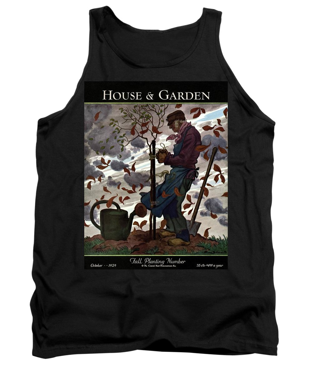 Illustration Tank Top featuring the photograph A House And Garden Cover Of A Gardener by Pierre Brissaud