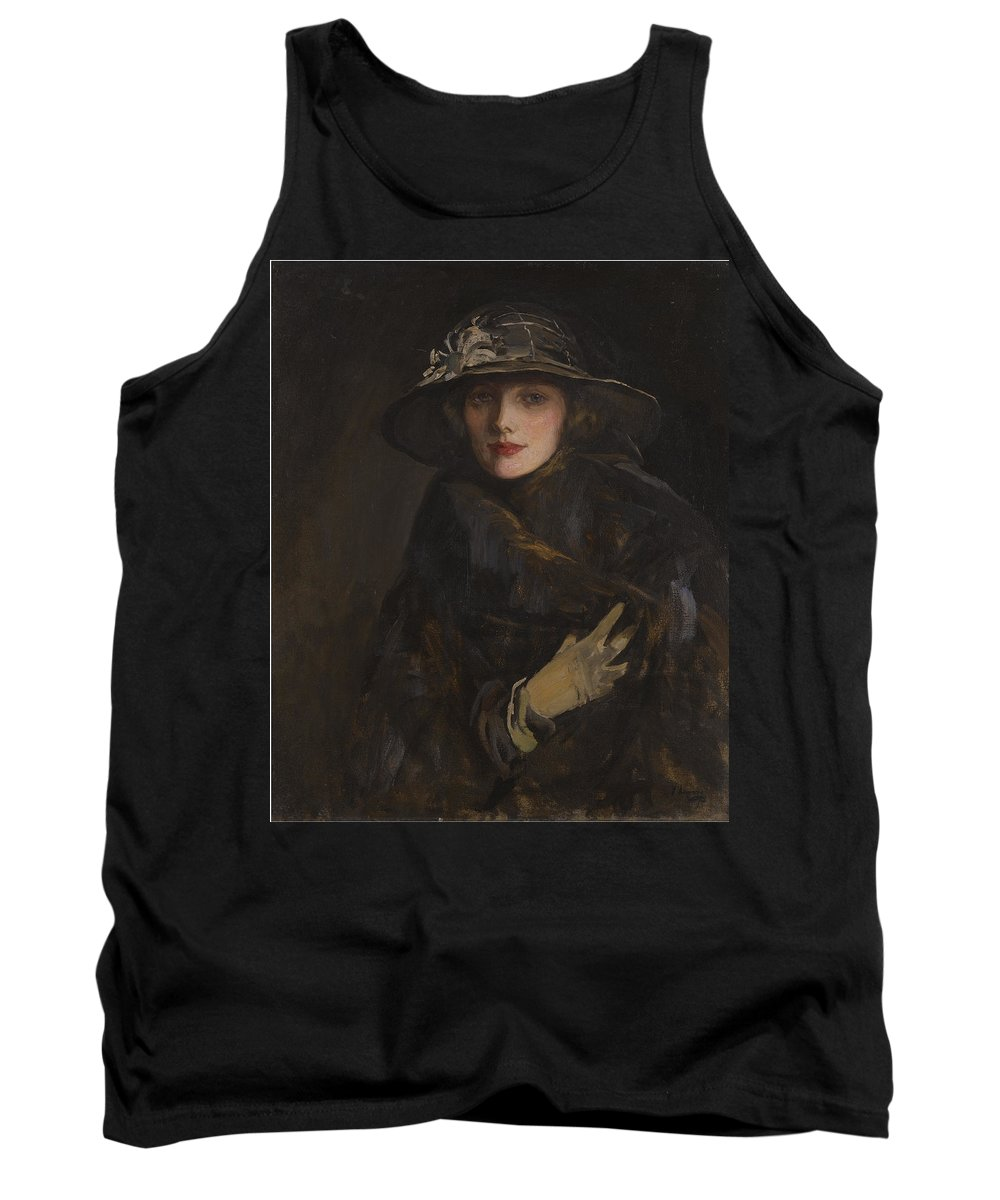 Sir Tank Top featuring the painting A Lady In Brown by Sir John Lavery