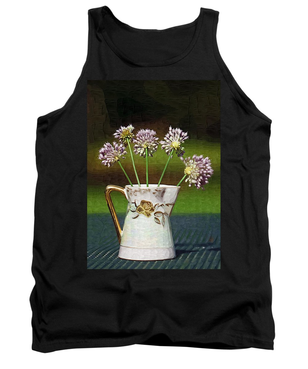 Allium Vineale Tank Top featuring the photograph A Little Jug Of Crow Garlic by Kathy Clark