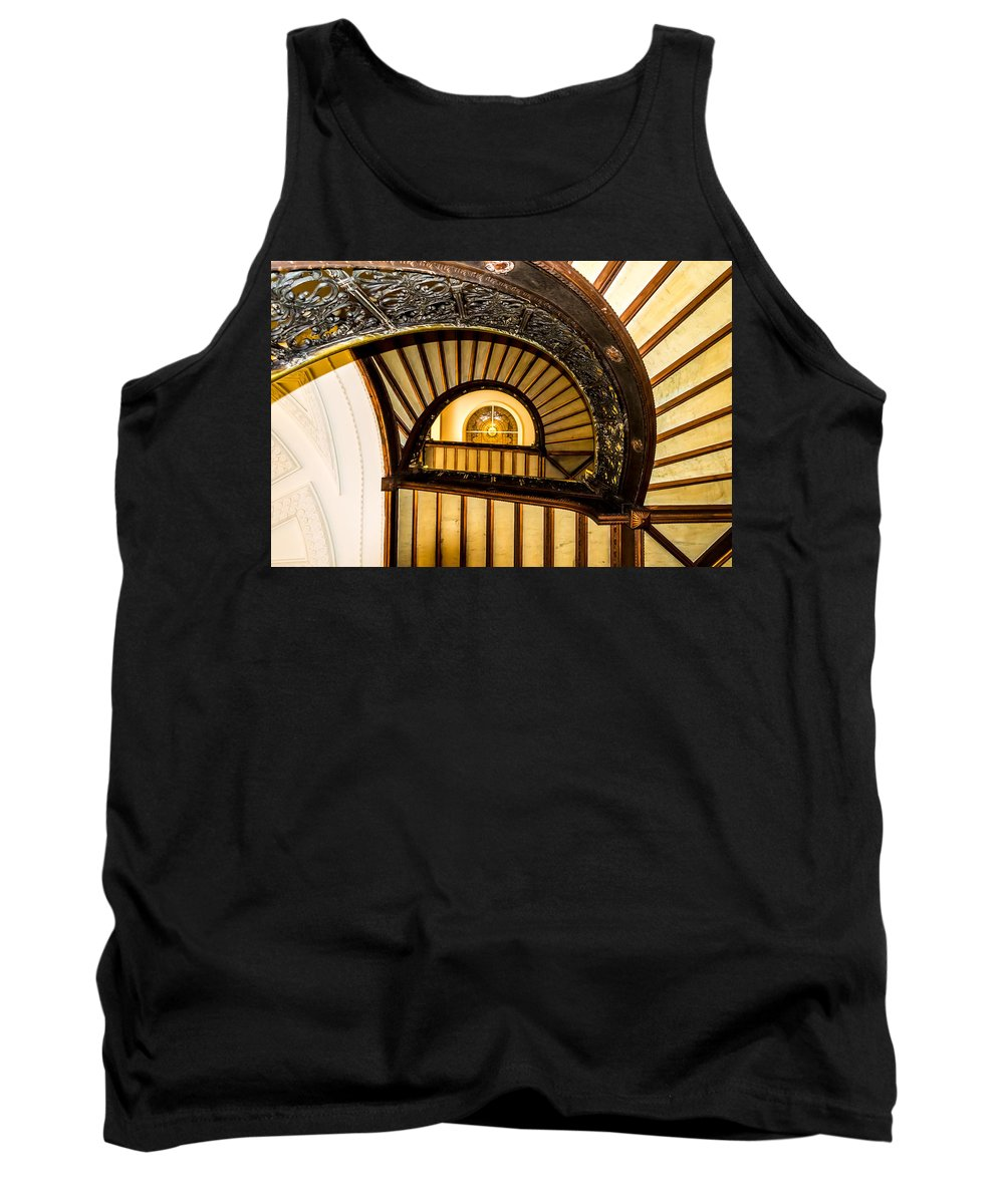 Spiral Tank Top featuring the photograph A Look Up The Stairs by Ray Sheley