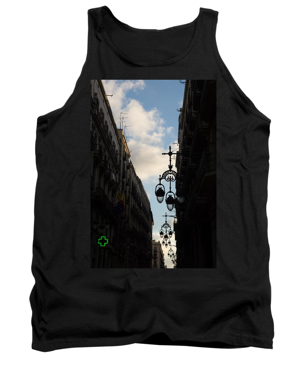 Streetlamp Tank Top featuring the photograph A Necklace Of Barcelona Streetlamps by Georgia Mizuleva