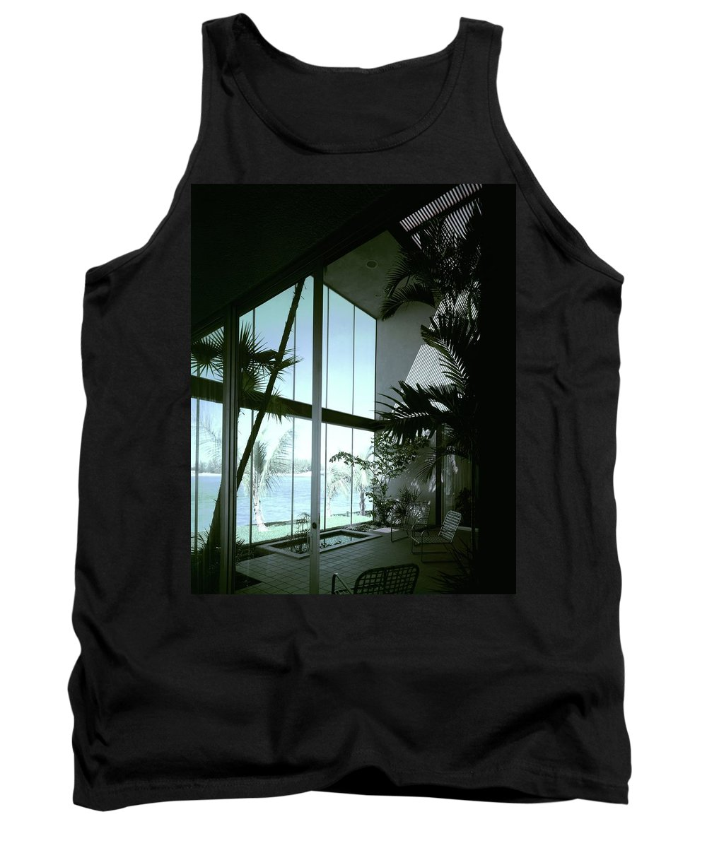 Architecture Tank Top featuring the photograph A Screened Patio by Robert M. Damora