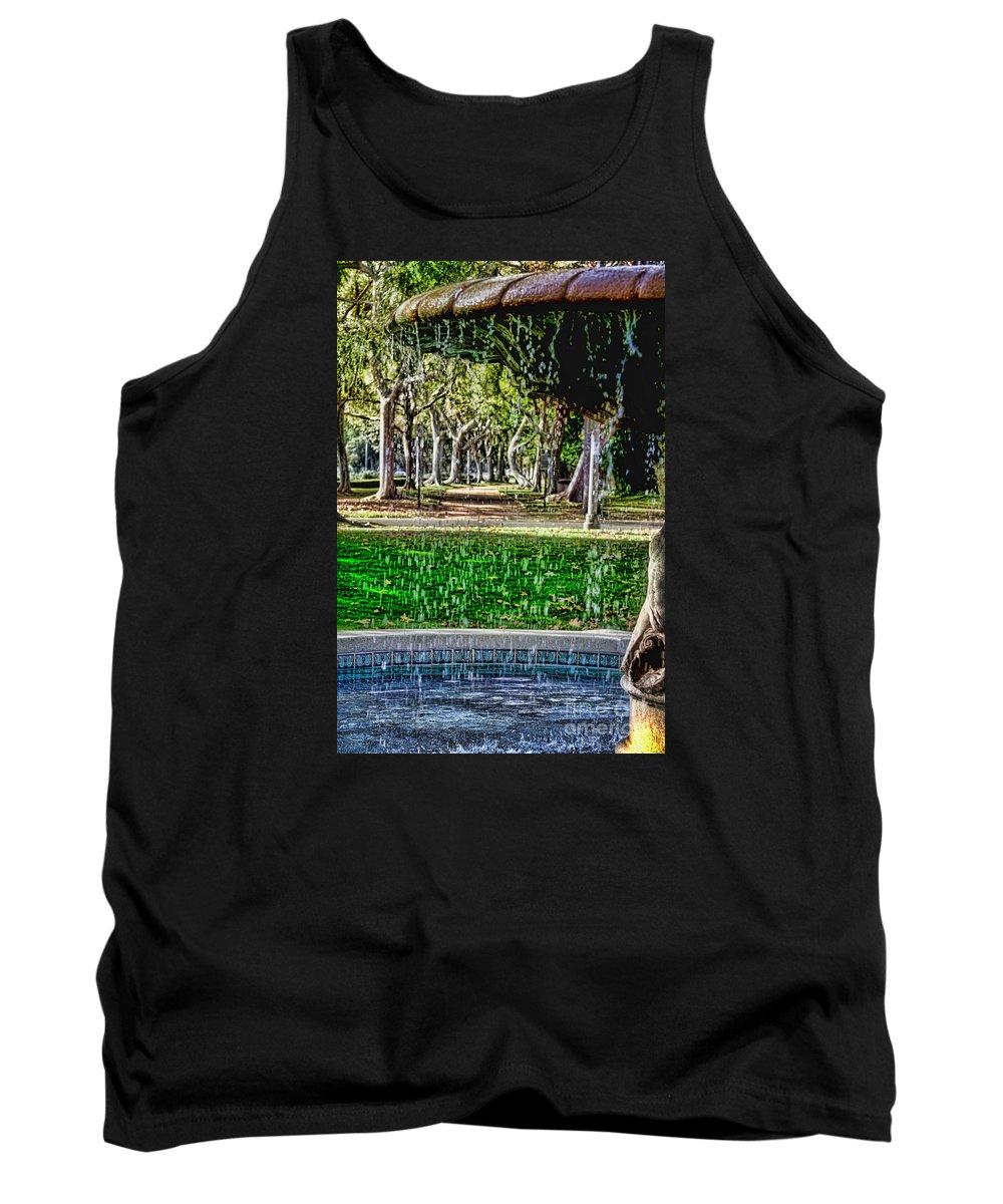 Fountain Tank Top featuring the photograph A Walk In The Park By Diana Sainz by Diana Raquel Sainz