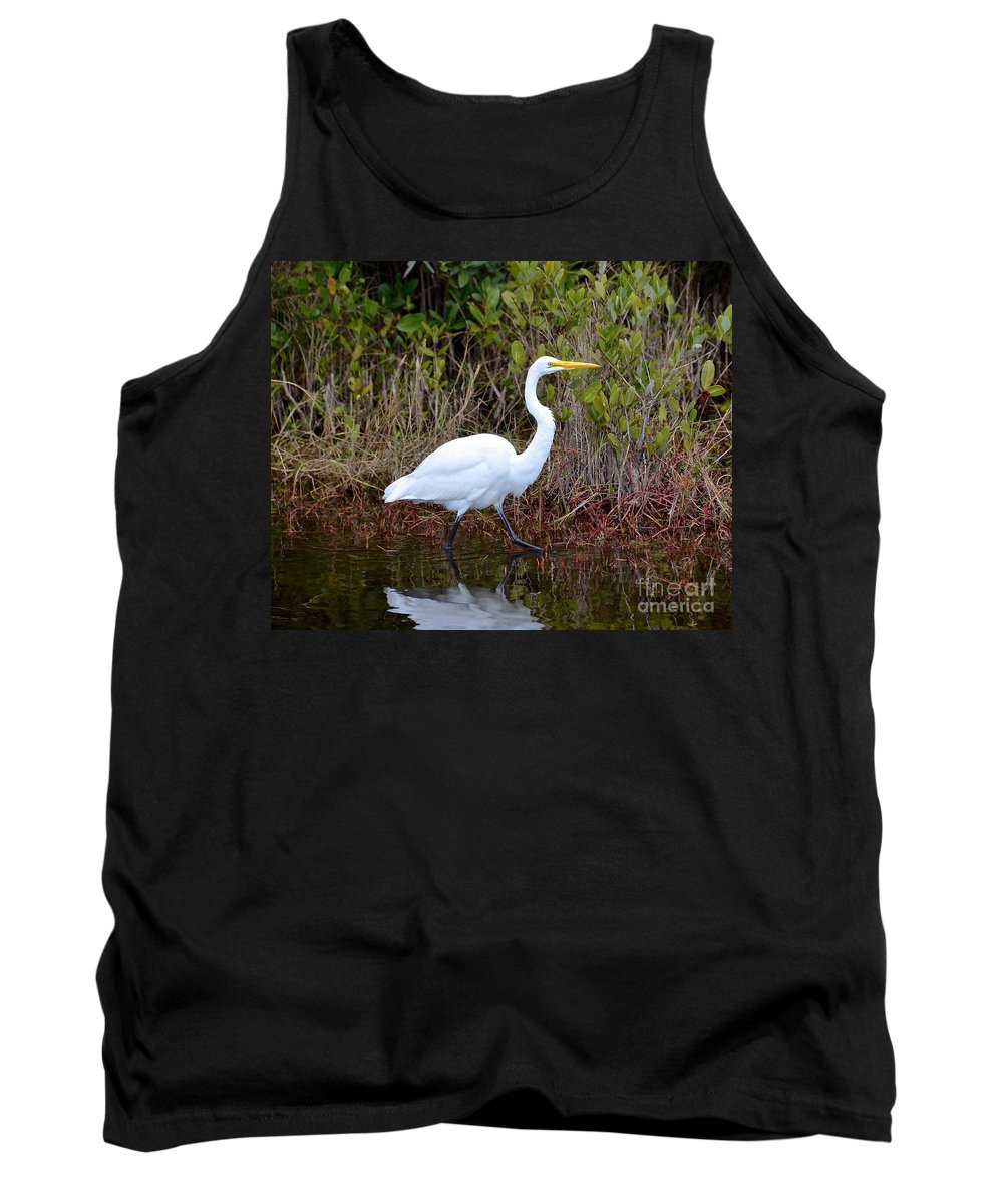 Egret Tank Top featuring the photograph A Walk In The Wetlands by Carol Bradley