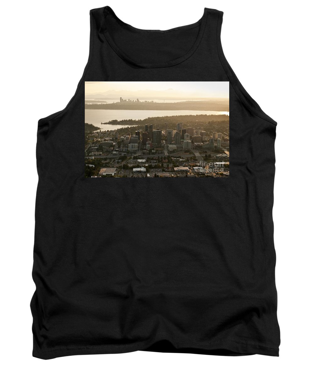 Bellevue Skyline Tank Top featuring the photograph Aerial View Of Bellevue Skyline by Jim Corwin