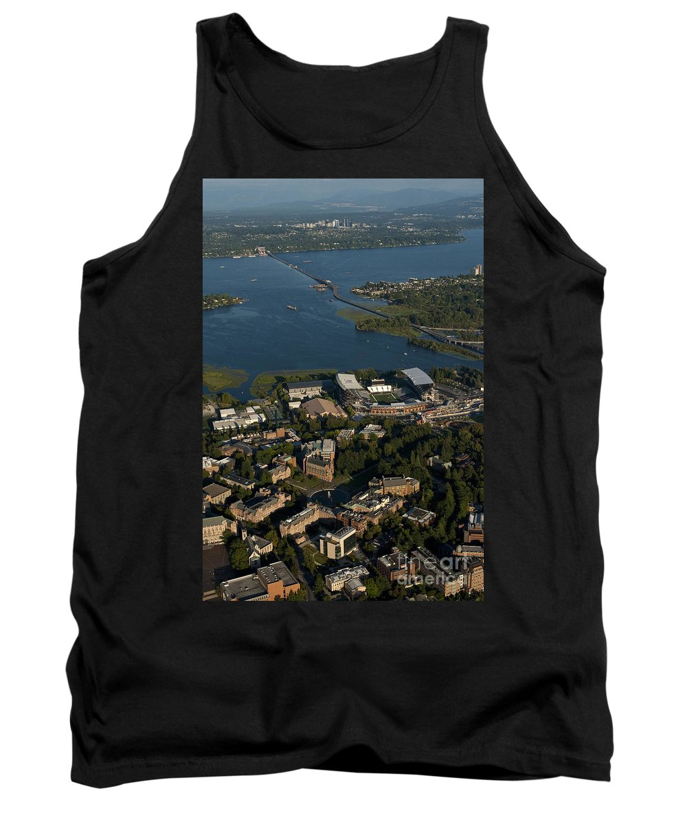 Bellevue Skyline Tank Top featuring the photograph Aerial View Of The New Husky Stadium by Jim Corwin
