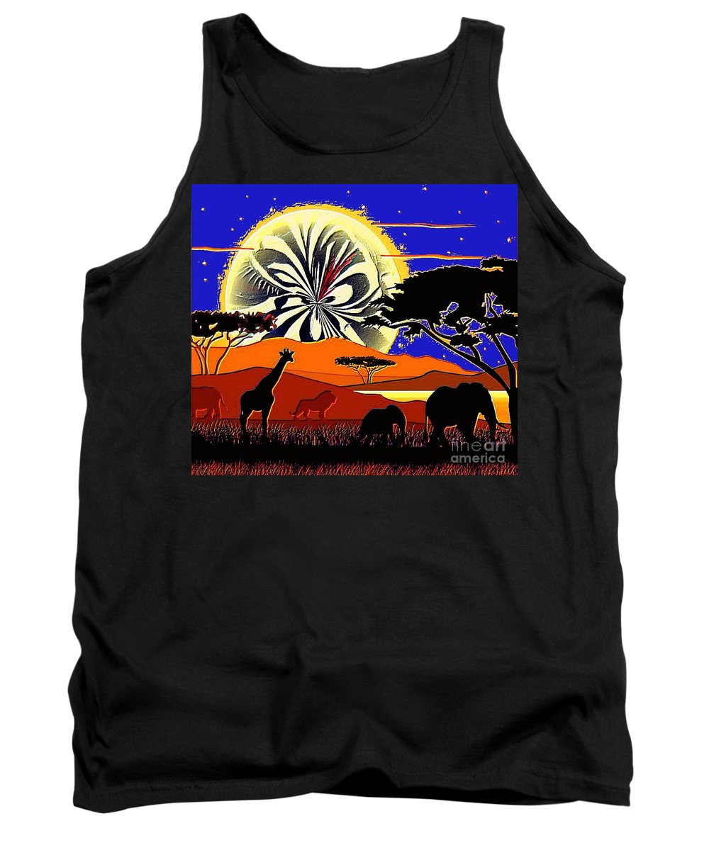 Africa Tank Top featuring the painting Africa At Sunset by Saundra Myles